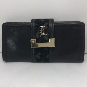 L.A.M.B.  Black Leather Bi Fold Wallet